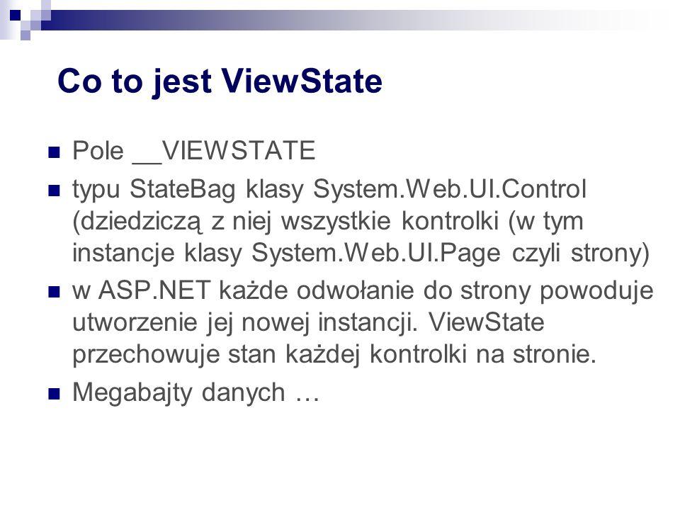 Co to jest ViewState Pole __VIEWSTATE typu StateBag klasy System.Web.UI.Control (dziedziczą z niej wszystkie kontrolki (w tym instancje klasy System.Web.UI.Page czyli strony) w ASP.NET każde odwołanie do strony powoduje utworzenie jej nowej instancji.