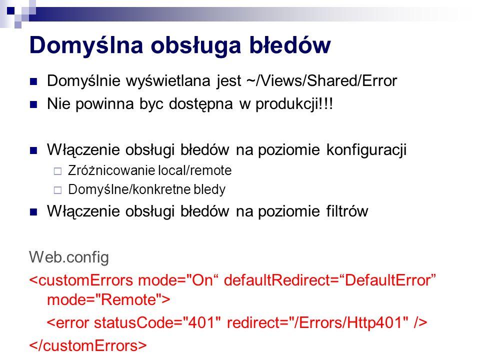 Domyślna obsługa błedów Domyślnie wyświetlana jest ~/Views/Shared/Error Nie powinna byc dostępna w produkcji!!.