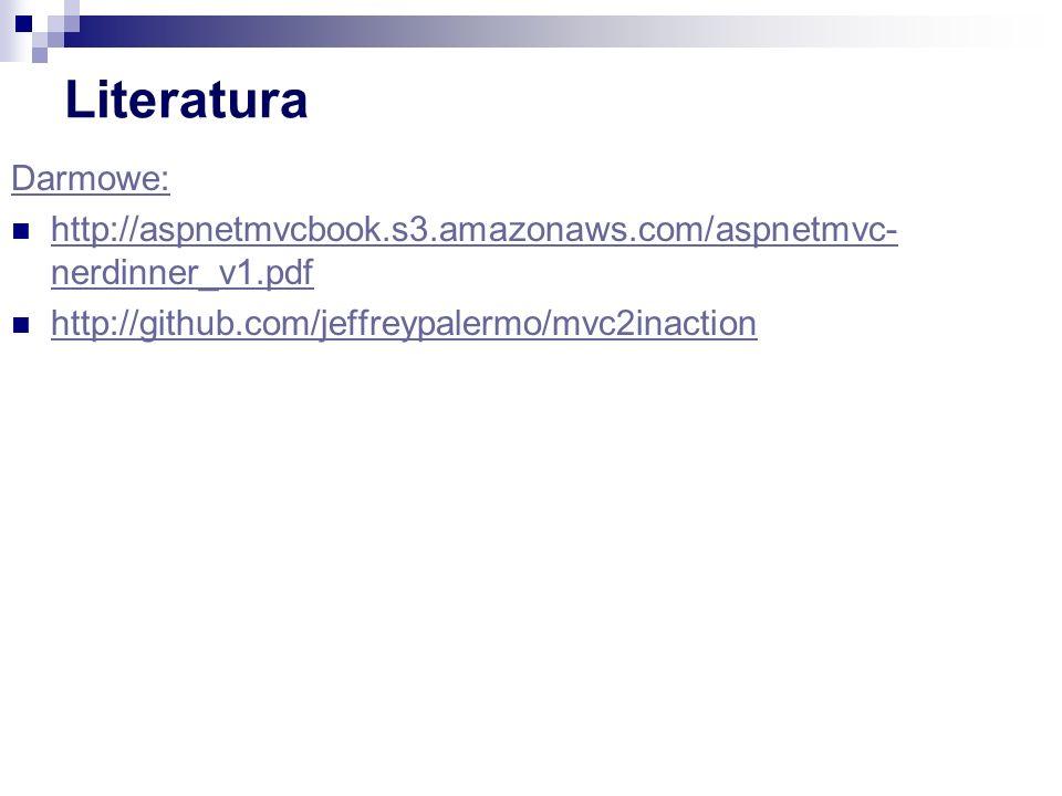 Literatura Darmowe: http://aspnetmvcbook.s3.amazonaws.com/aspnetmvc- nerdinner_v1.pdf http://aspnetmvcbook.s3.amazonaws.com/aspnetmvc- nerdinner_v1.pdf http://github.com/jeffreypalermo/mvc2inaction