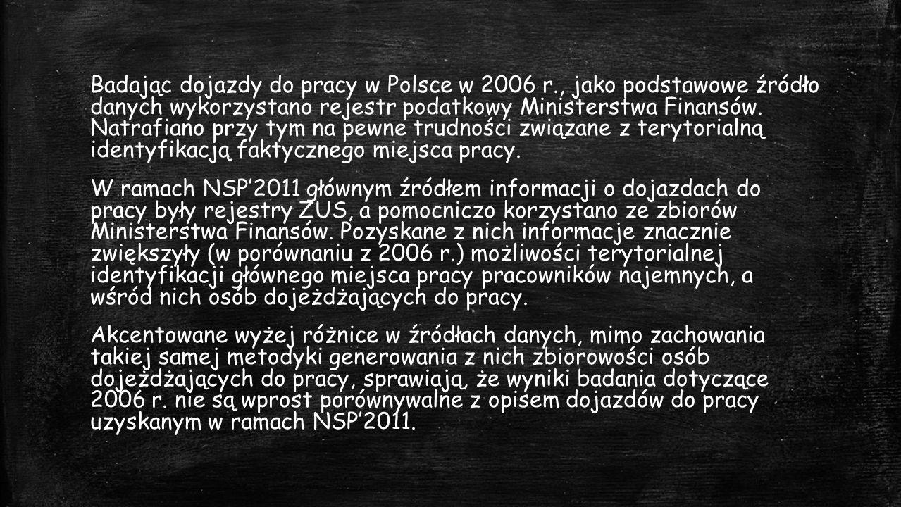 Badając dojazdy do pracy w Polsce w 2006 r., jako podstawowe źródło danych wykorzystano rejestr podatkowy Ministerstwa Finansów.