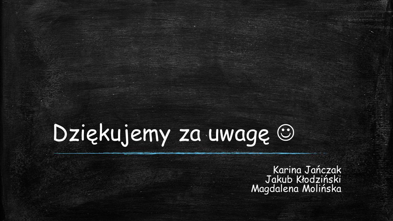 Dziękujemy za uwagę Karina Jańczak Jakub Kłodziński Magdalena Molińska