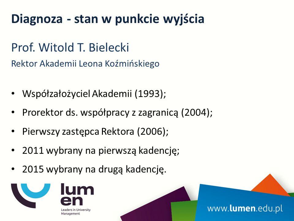 Diagnoza - stan w punkcie wyjścia Prof. Witold T. Bielecki Rektor Akademii Leona Koźmińskiego Współzałożyciel Akademii (1993); Prorektor ds. współprac