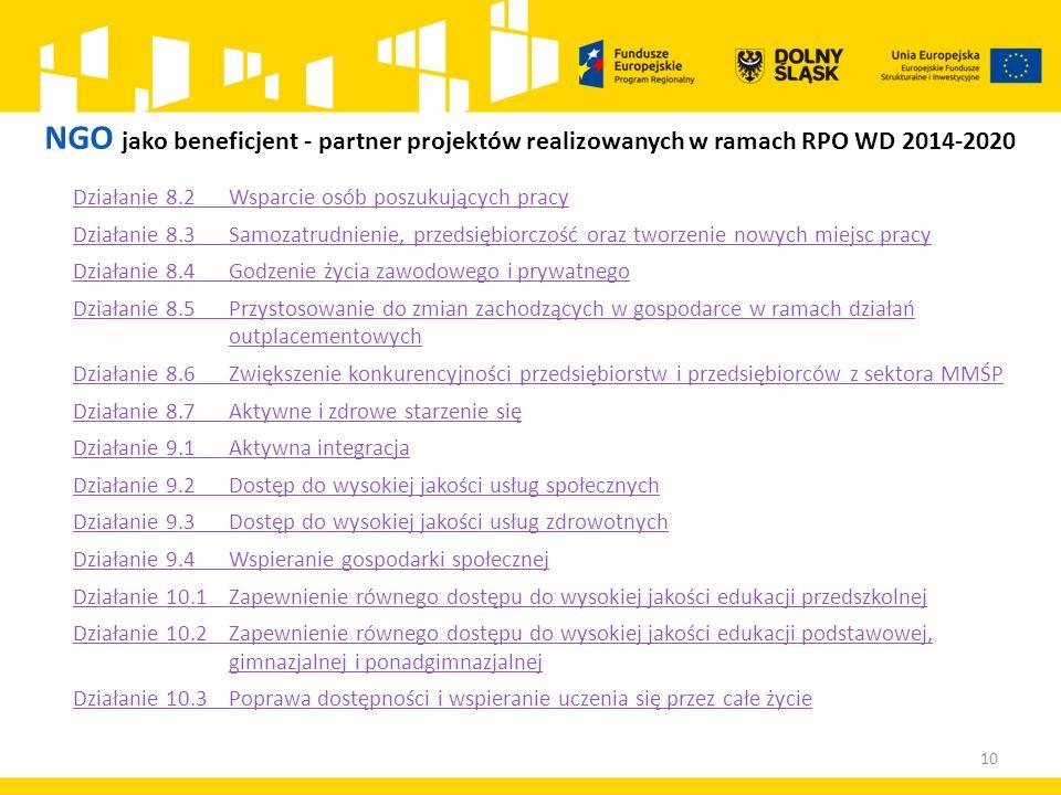 NGO jako beneficjent - partner projektów realizowanych w ramach RPO WD 2014-2020 Działanie 8.2 Wsparcie osób poszukujących pracy Działanie 8.3 Samozat