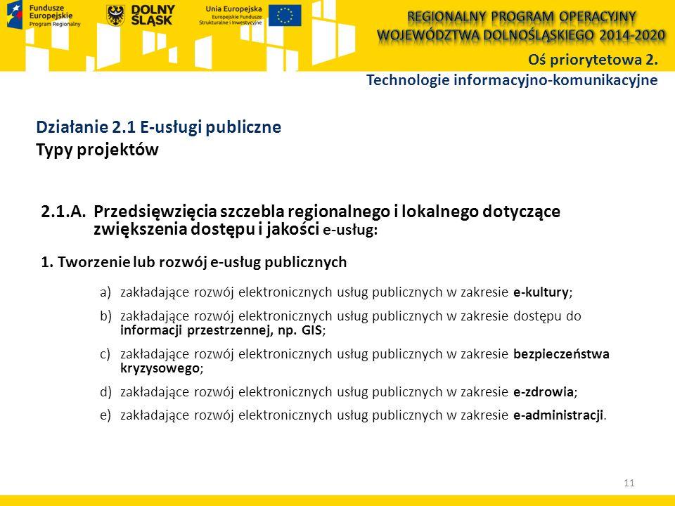 2.1.A.Przedsięwzięcia szczebla regionalnego i lokalnego dotyczące zwiększenia dostępu i jakości e-usług: 1. Tworzenie lub rozwój e-usług publicznych a
