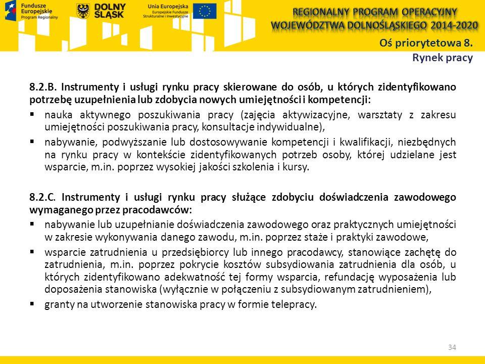 8.2.B. Instrumenty i usługi rynku pracy skierowane do osób, u których zidentyfikowano potrzebę uzupełnienia lub zdobycia nowych umiejętności i kompete