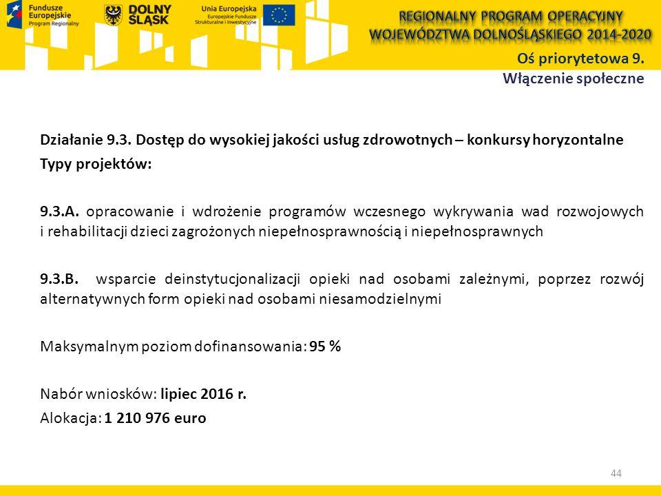 Działanie 9.3. Dostęp do wysokiej jakości usług zdrowotnych – konkursy horyzontalne Typy projektów: 9.3.A. opracowanie i wdrożenie programów wczesnego