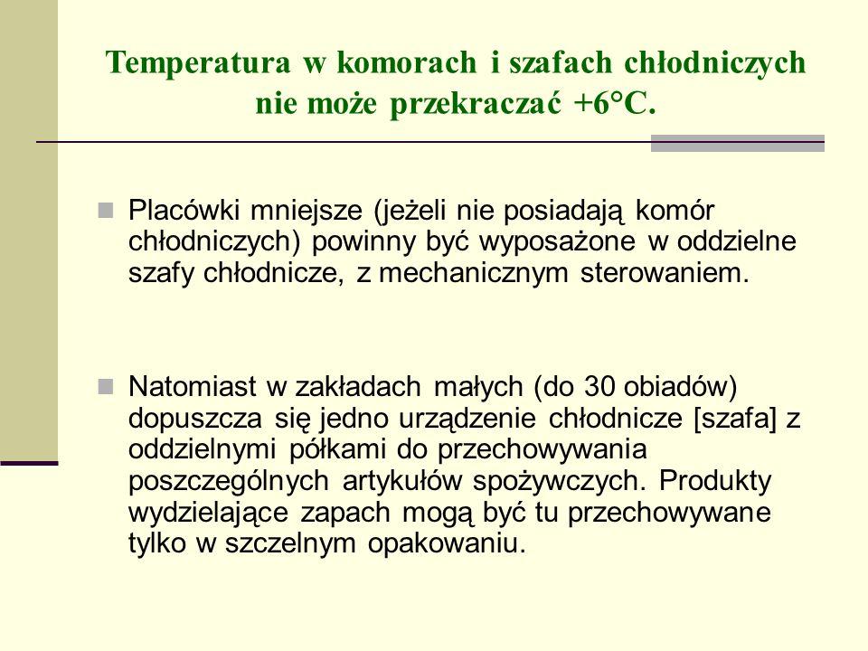 Temperatura w komorach i szafach chłodniczych nie może przekraczać +6°C. Placówki mniejsze (jeżeli nie posiadają komór chłodniczych) powinny być wypos