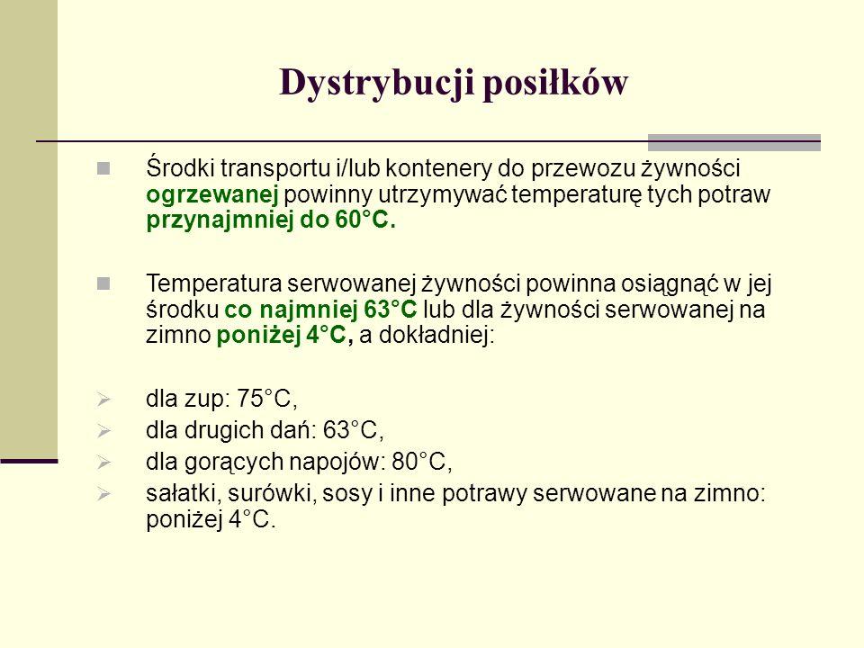 Dystrybucji posiłków Środki transportu i/lub kontenery do przewozu żywności ogrzewanej powinny utrzymywać temperaturę tych potraw przynajmniej do 60°C