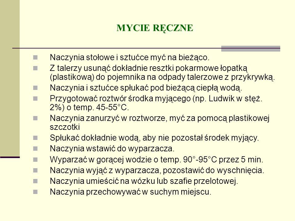 MYCIE RĘCZNE Naczynia stołowe i sztućce myć na bieżąco. Z talerzy usunąć dokładnie resztki pokarmowe łopatką (plastikową) do pojemnika na odpady taler