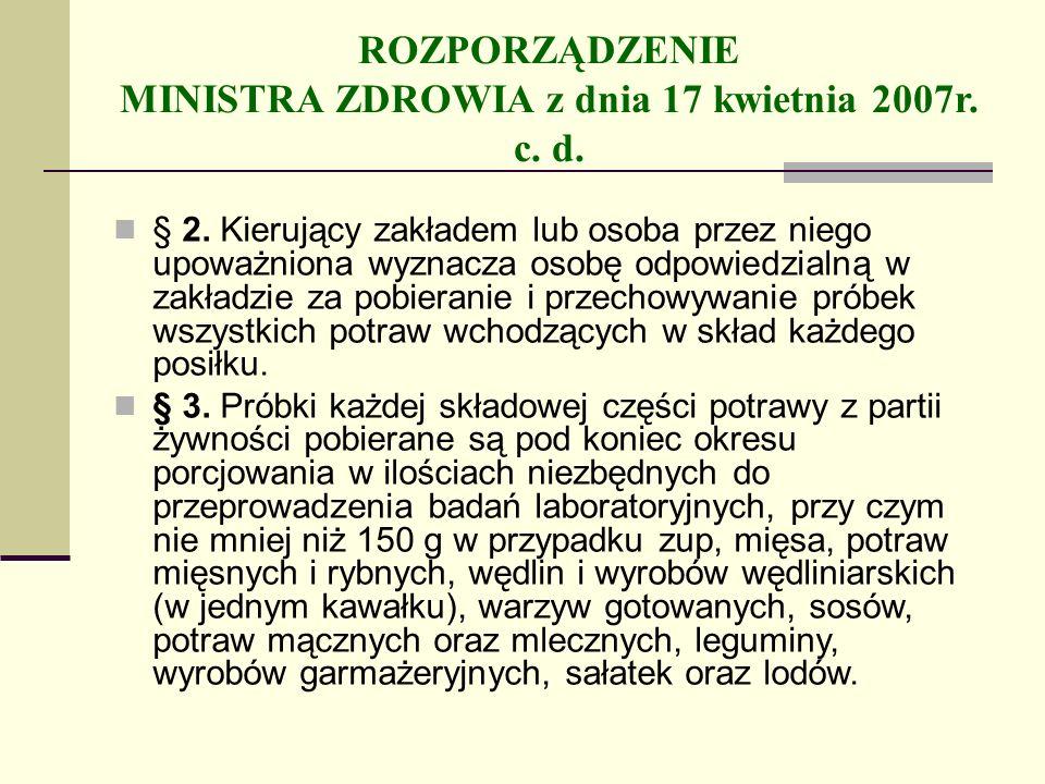 ROZPORZĄDZENIE MINISTRA ZDROWIA z dnia 17 kwietnia 2007r. c. d. § 2. Kierujący zakładem lub osoba przez niego upoważniona wyznacza osobę odpowiedzialn