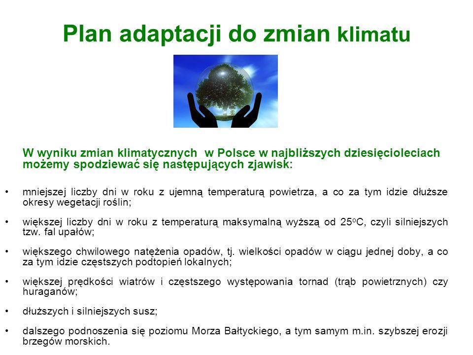 Plan adaptacji do zmian klimatu W wyniku zmian klimatycznych w Polsce w najbliższych dziesięcioleciach możemy spodziewać się następujących zjawisk: mn
