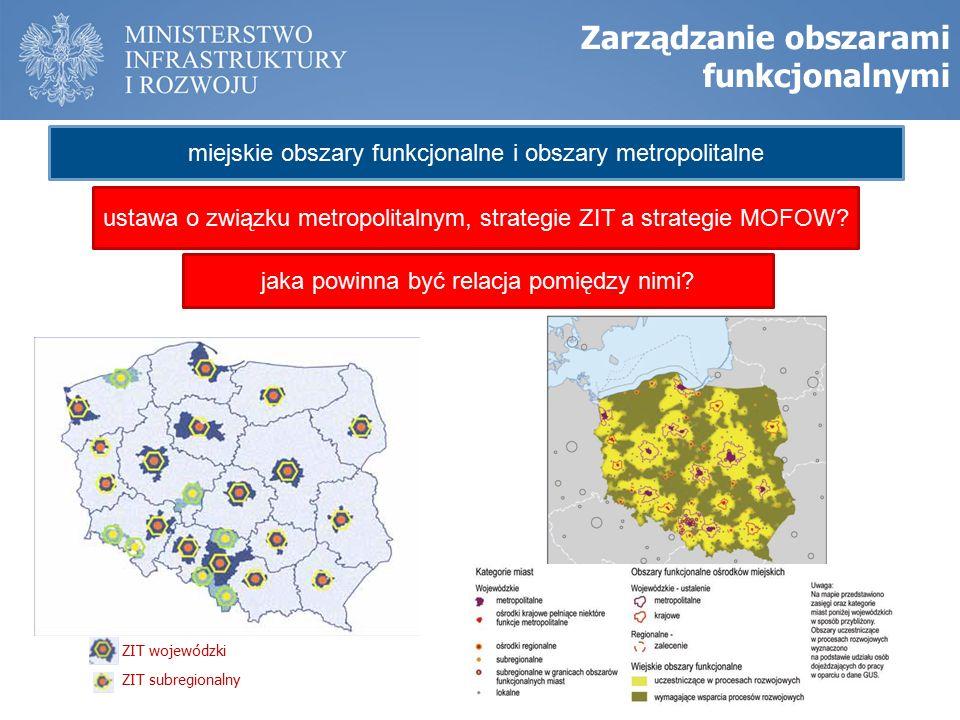 Zarządzanie obszarami funkcjonalnymi ZIT wojewódzki ZIT subregionalny miejskie obszary funkcjonalne i obszary metropolitalne ustawa o związku metropolitalnym, strategie ZIT a strategie MOFOW.