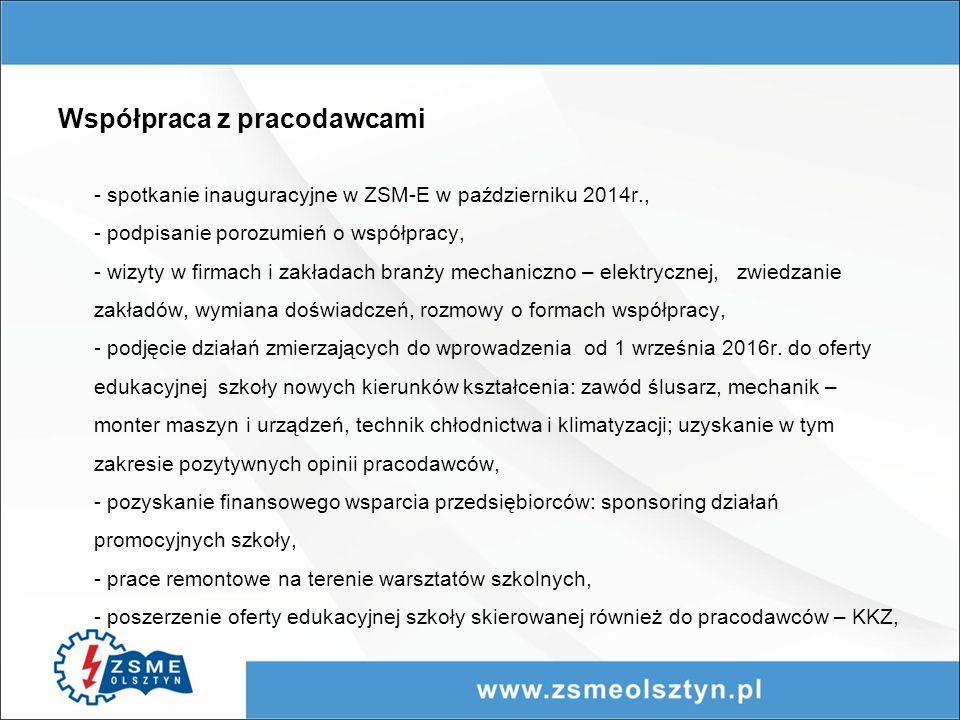 Współpraca z pracodawcami - spotkanie inauguracyjne w ZSM-E w październiku 2014r., - podpisanie porozumień o współpracy, - wizyty w firmach i zakładach branży mechaniczno – elektrycznej, zwiedzanie zakładów, wymiana doświadczeń, rozmowy o formach współpracy, - podjęcie działań zmierzających do wprowadzenia od 1 września 2016r.