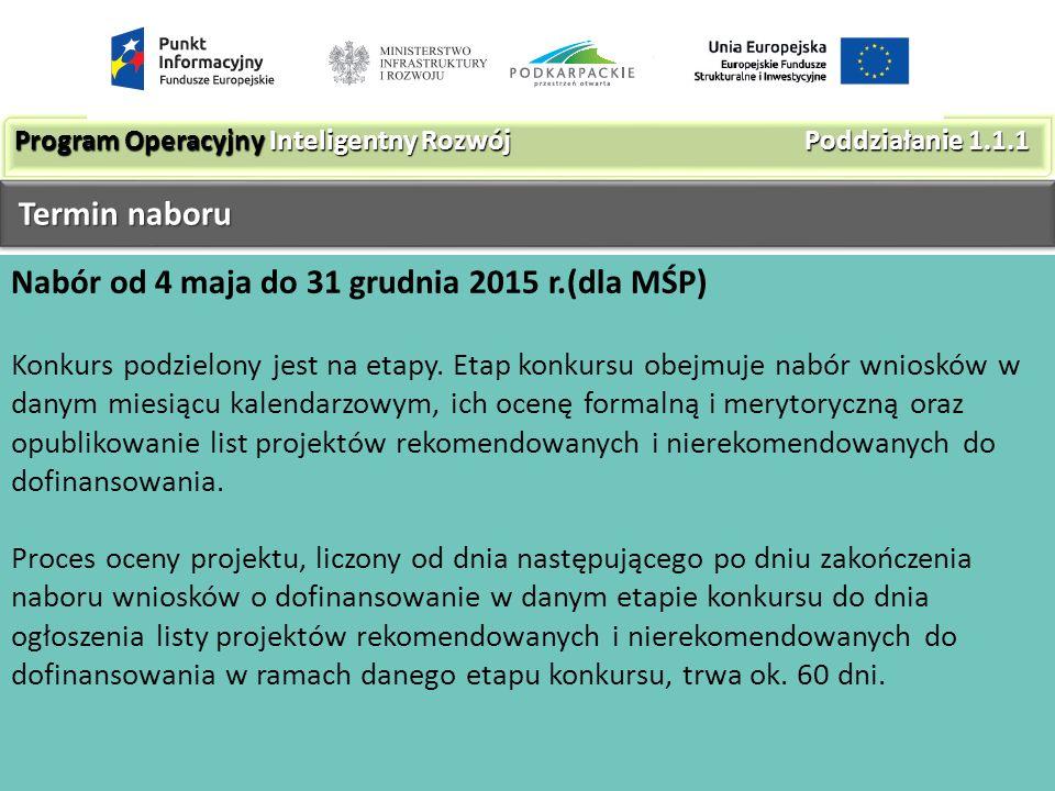 Nabór od 4 maja do 31 grudnia 2015 r.(dla MŚP) Konkurs podzielony jest na etapy.