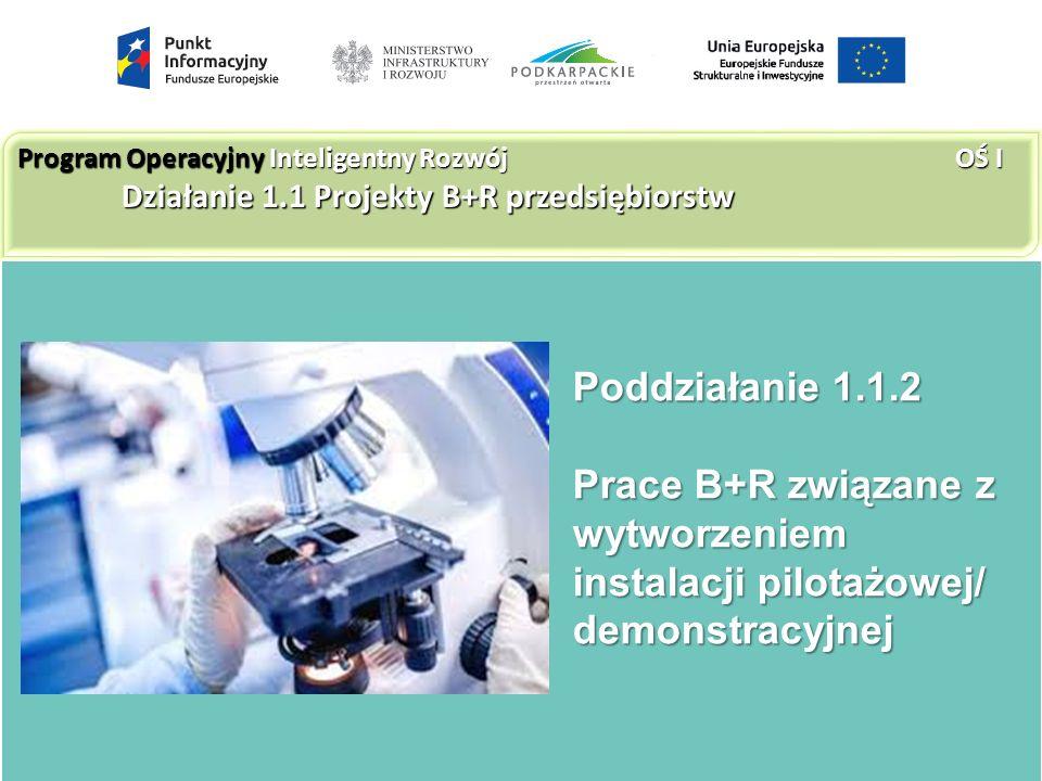 Poddziałanie 1.1.2 Prace B+R związane z wytworzeniem instalacji pilotażowej/ demonstracyjnej Program Operacyjny Inteligentny Rozwój OŚ I Działanie 1.1 Projekty B+R przedsiębiorstw