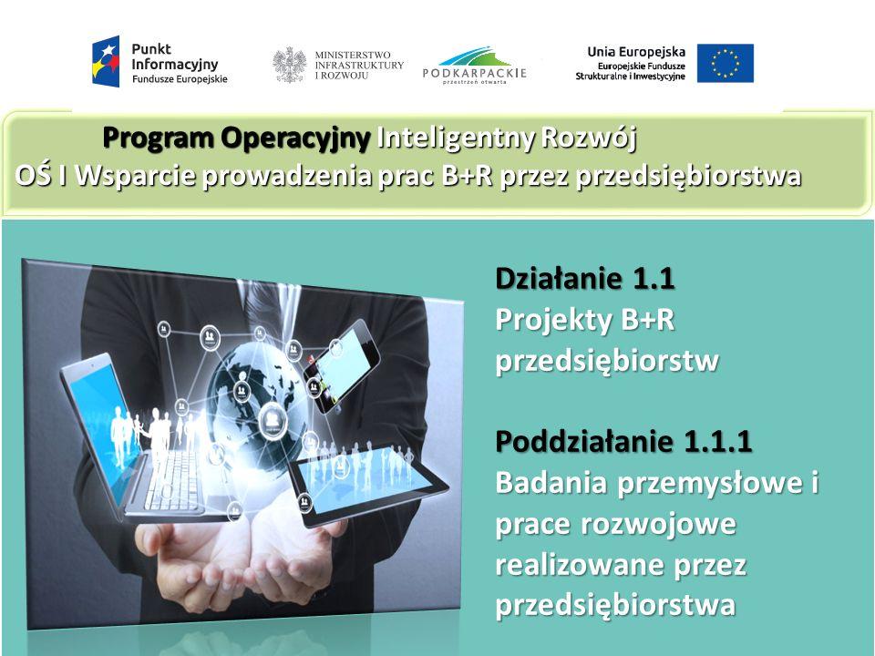 Działanie 1.1 Projekty B+R przedsiębiorstw Poddziałanie 1.1.1 Badania przemysłowe i prace rozwojowe realizowane przez przedsiębiorstwa Program Operacyjny Inteligentny Rozwój OŚ I Wsparcie prowadzenia prac B+R przez przedsiębiorstwa
