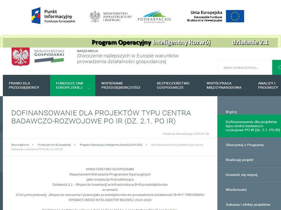 Ogłoszenie o konkursie na stronie MG Ogłoszenie o konkursie na stronie MG http://www.mg.gov.pl/Fundusze+UE/POIR+2 014- 2020/Dofinansowanie+dla+projektow+typu+ centra+badawczo-rozwojowe+PO+IR Program Operacyjny Inteligentny Rozwójdziałanie 2.1