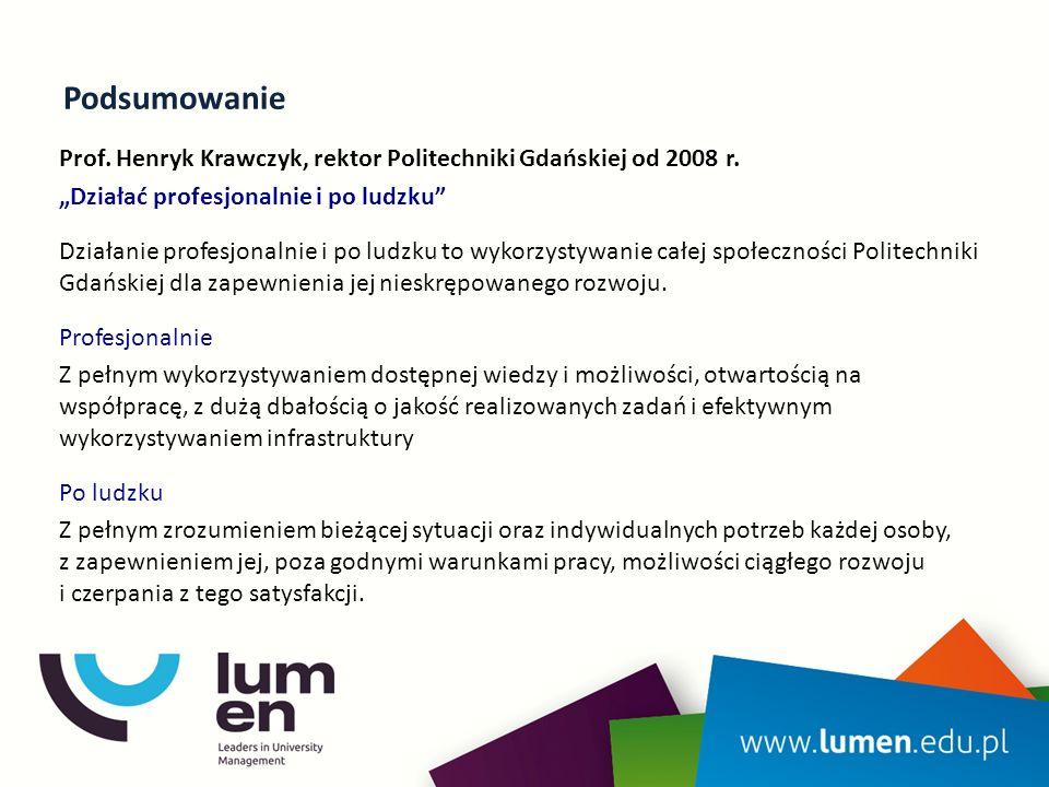 Podsumowanie Prof. Henryk Krawczyk, rektor Politechniki Gdańskiej od 2008 r.