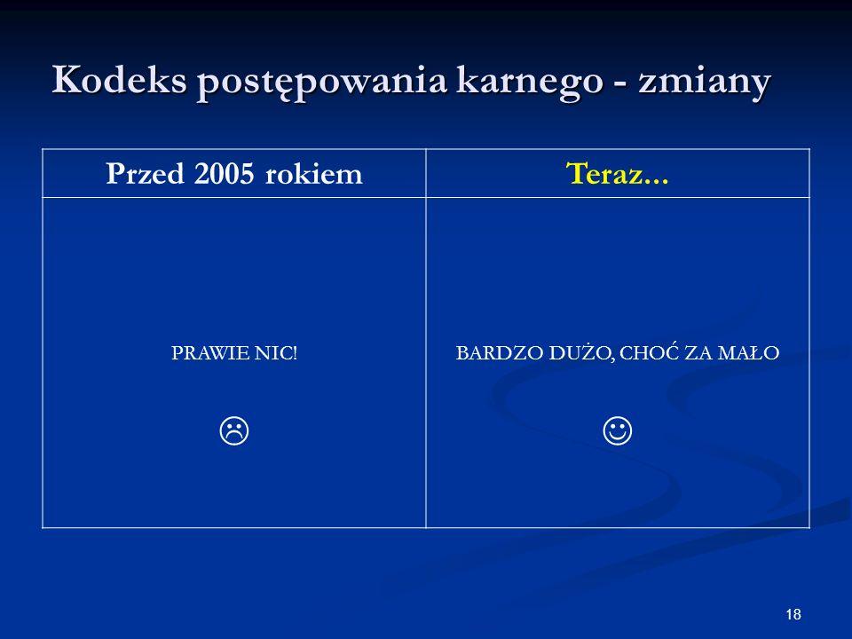 Kodeks postępowania karnego - zmiany Przed 2005 rokiemTeraz...