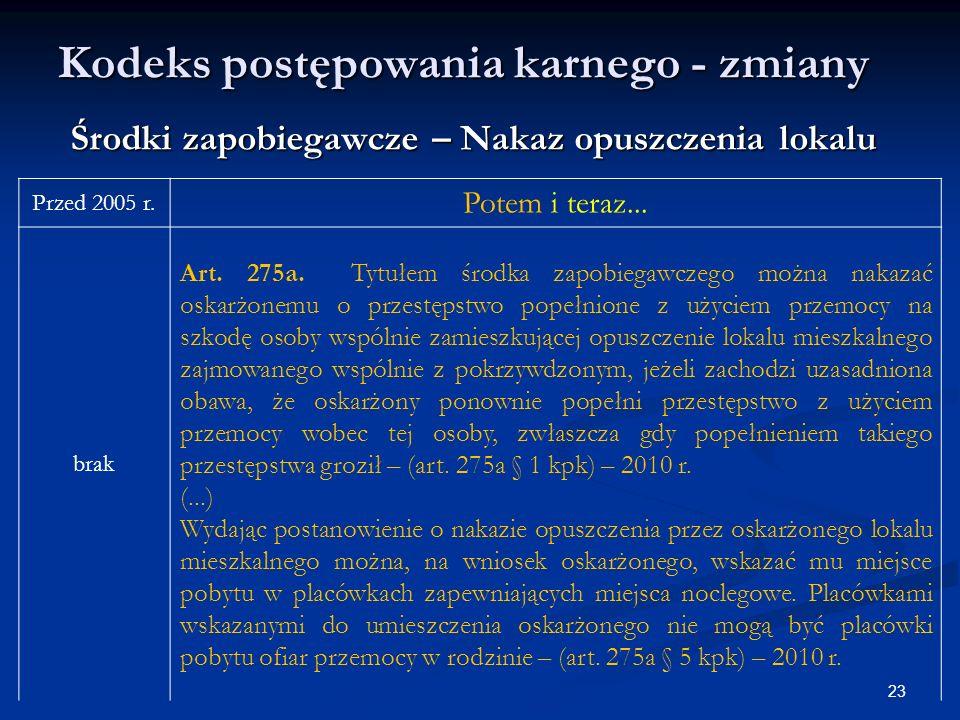 Kodeks postępowania karnego - zmiany Przed 2005 r.