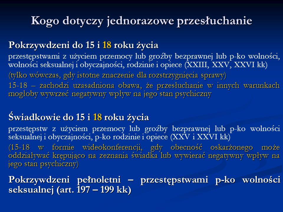 Kogo dotyczy jednorazowe przesłuchanie Pokrzywdzeni do 15 i 18 roku życia przestępstwami z użyciem przemocy lub groźby bezprawnej lub p-ko wolności, wolności seksualnej i obyczajności, rodzinie i opiece (XXIII, XXV, XXVI kk) (tylko wówczas, gdy istotne znaczenie dla rozstrzygnięcia sprawy) 15-18 – zachodzi uzasadniona obawa, że przesłuchanie w innych warunkach mogłoby wywrzeć negatywny wpływ na jego stan psychiczny Świadkowie do 15 i 18 roku życia przestępstw z użyciem przemocy lub groźby bezprawnej lub p-ko wolności seksualnej i obyczajności, p-ko rodzinie i opiece (XXV i XXVI kk) (15-18 w formie wideokonferencji, gdy obecność oskarżonego może oddziaływać krępująco na zeznania świadka lub wywierać negatywny wpływ na jego stan psychiczny) Pokrzywdzeni pełnoletni – przestępstwami p-ko wolności seksualnej (art.