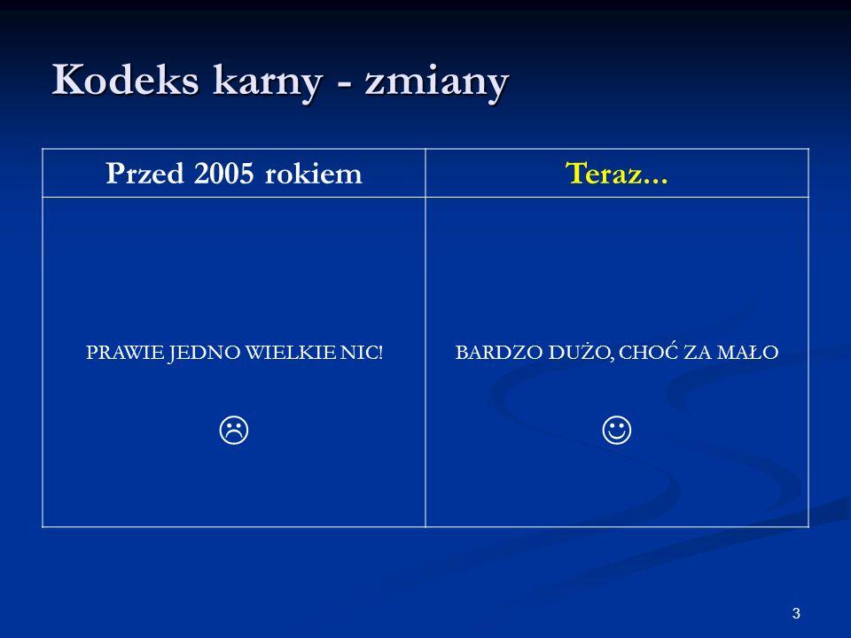 Kodeks karny - zmiany Przed 2005 rokiemTeraz...