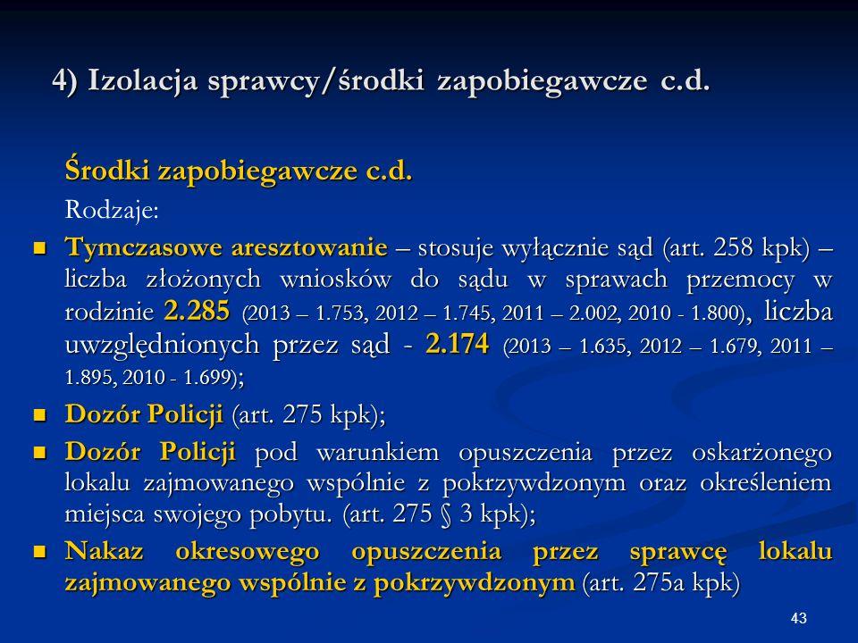 4) Izolacja sprawcy/środki zapobiegawcze c.d. Środki zapobiegawcze c.d.