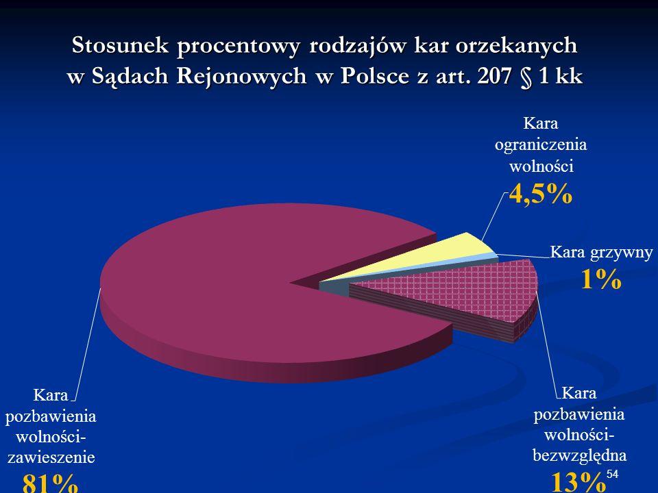 Stosunek procentowy rodzajów kar orzekanych w Sądach Rejonowych w Polsce z art. 207 § 1 kk 54