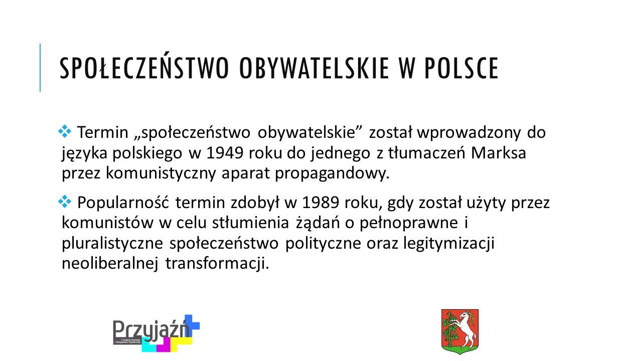 """SPOŁECZEŃSTWO OBYWATELSKIE W POLSCE  Termin """"społeczeństwo obywatelskie został wprowadzony do języka polskiego w 1949 roku do jednego z tłumaczeń Marksa przez komunistyczny aparat propagandowy."""