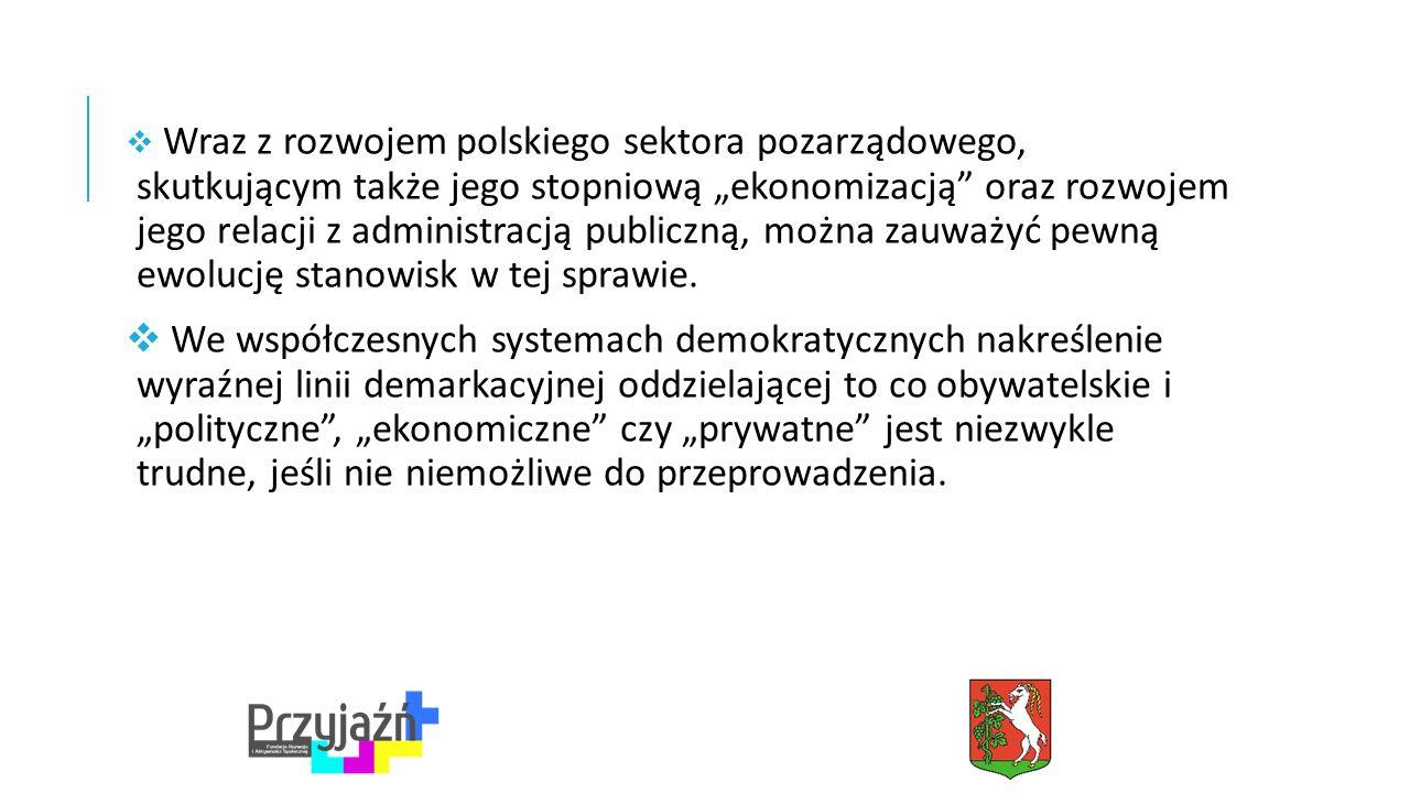 """ Wraz z rozwojem polskiego sektora pozarządowego, skutkującym także jego stopniową """"ekonomizacją oraz rozwojem jego relacji z administracją publiczną, można zauważyć pewną ewolucję stanowisk w tej sprawie."""