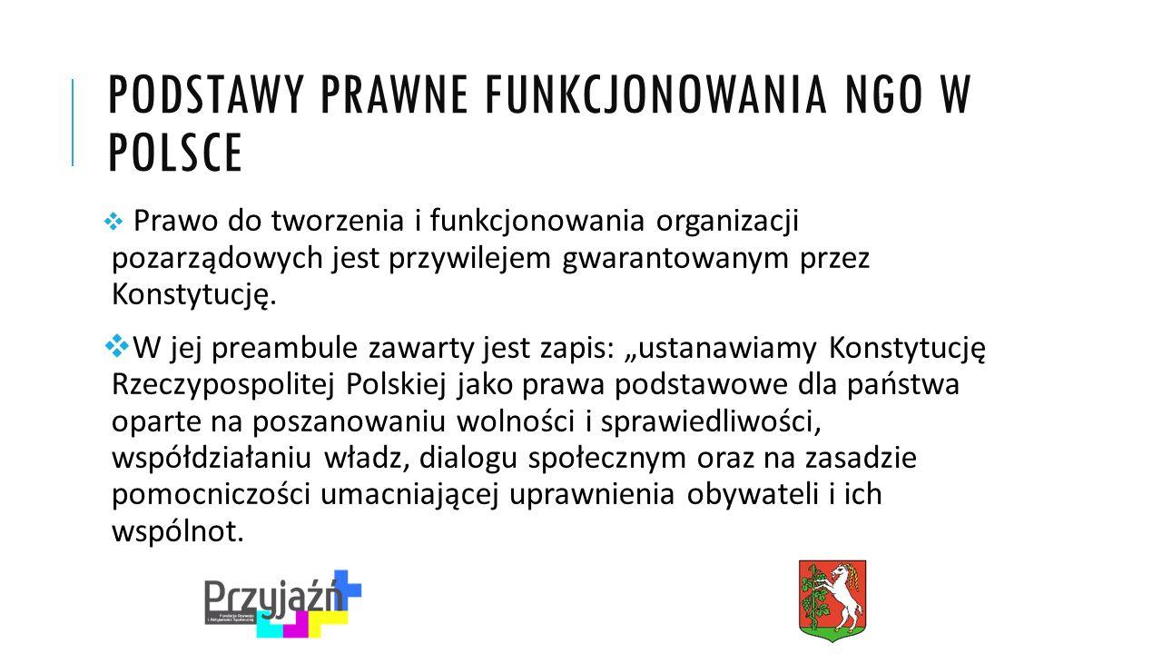 PODSTAWY PRAWNE FUNKCJONOWANIA NGO W POLSCE  Prawo do tworzenia i funkcjonowania organizacji pozarządowych jest przywilejem gwarantowanym przez Konstytucję.