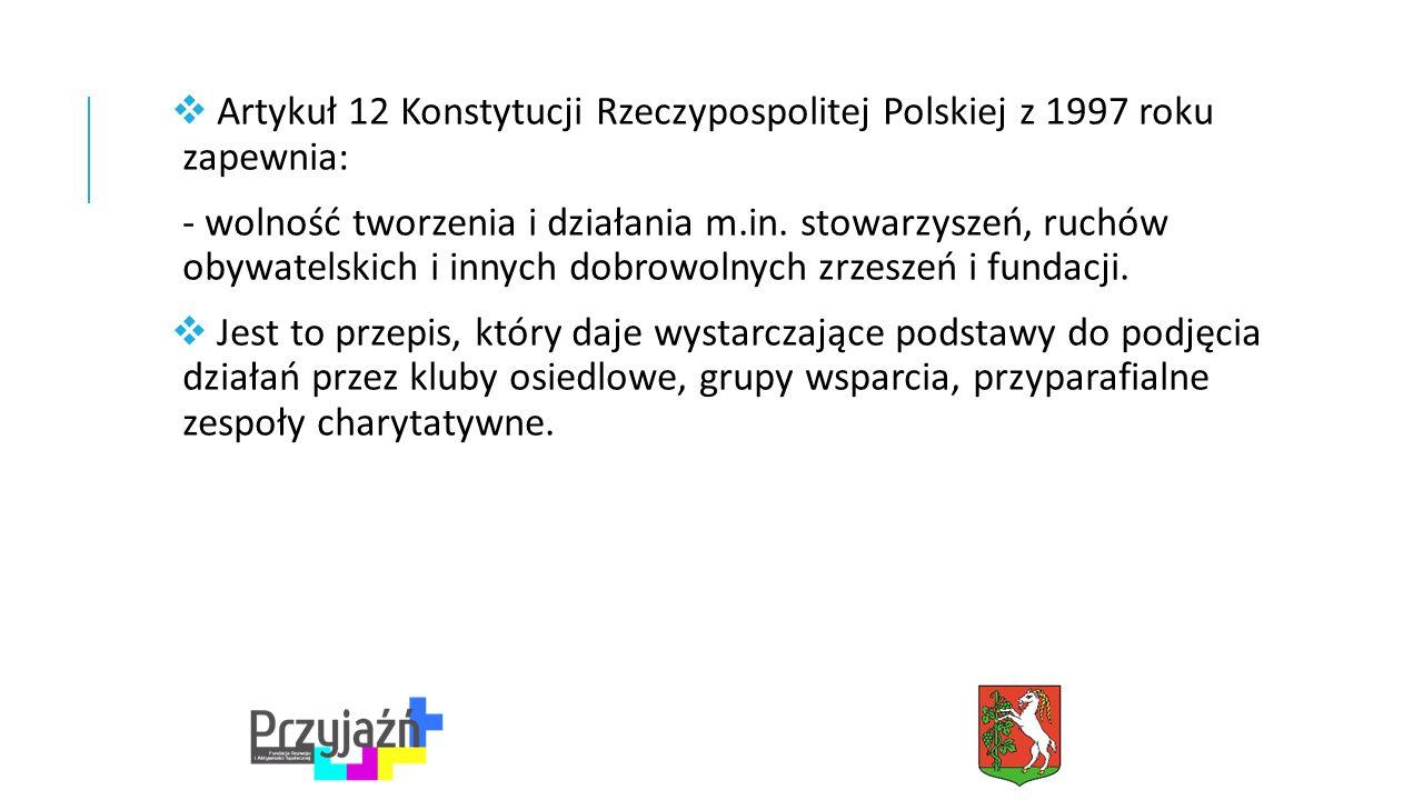  Artykuł 12 Konstytucji Rzeczypospolitej Polskiej z 1997 roku zapewnia: - wolność tworzenia i działania m.in.