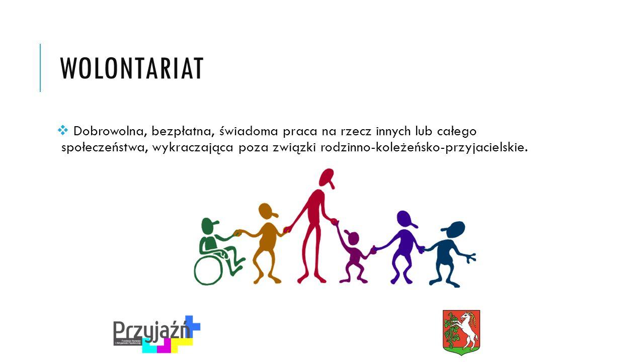WOLONTARIAT  Dobrowolna, bezpłatna, świadoma praca na rzecz innych lub całego społeczeństwa, wykraczająca poza związki rodzinno-koleżeńsko-przyjacielskie.