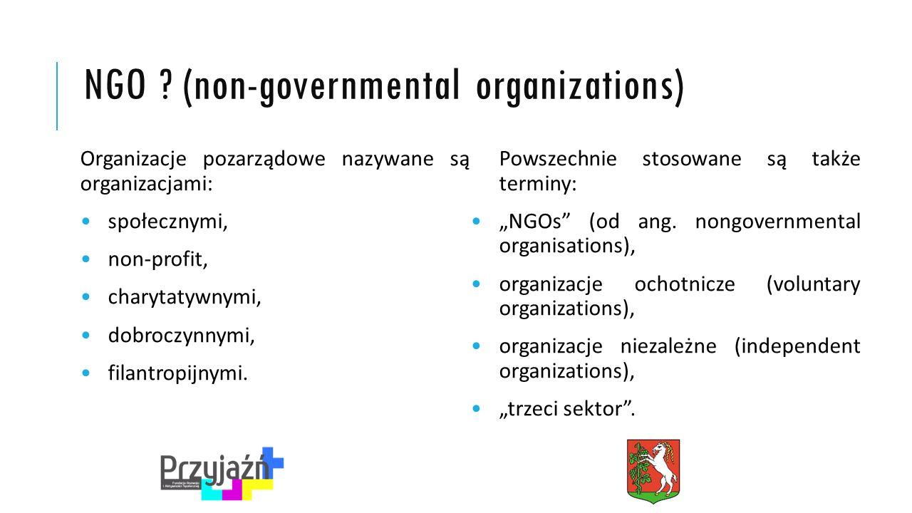 RODZAJE ORGANIZACJI POZARZĄDOWYCH Wyróżnić można pięć głównych rodzajów organizacji pozarządowych: – organizacje świadczące pomoc wybranym grupom społecznym, – organizacje koncentrujące się na prowadzeniu badań i ochrony, głownie środowiska, – organizacje samopomocy zrzeszające np.