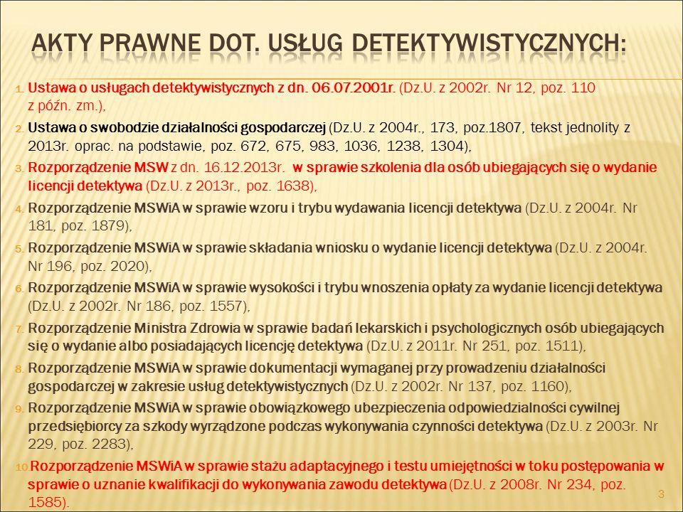 1.Ustawa o usługach detektywistycznych z dn. 06.07.2001r.