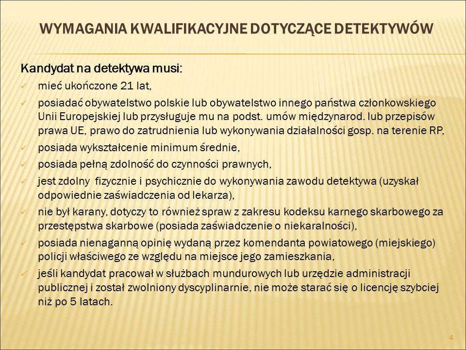 WYMAGANIA KWALIFIKACYJNE DOTYCZĄCE DETEKTYWÓW Kandydat na detektywa musi: mieć ukończone 21 lat, posiadać obywatelstwo polskie lub obywatelstwo innego państwa członkowskiego Unii Europejskiej lub przysługuje mu na podst.