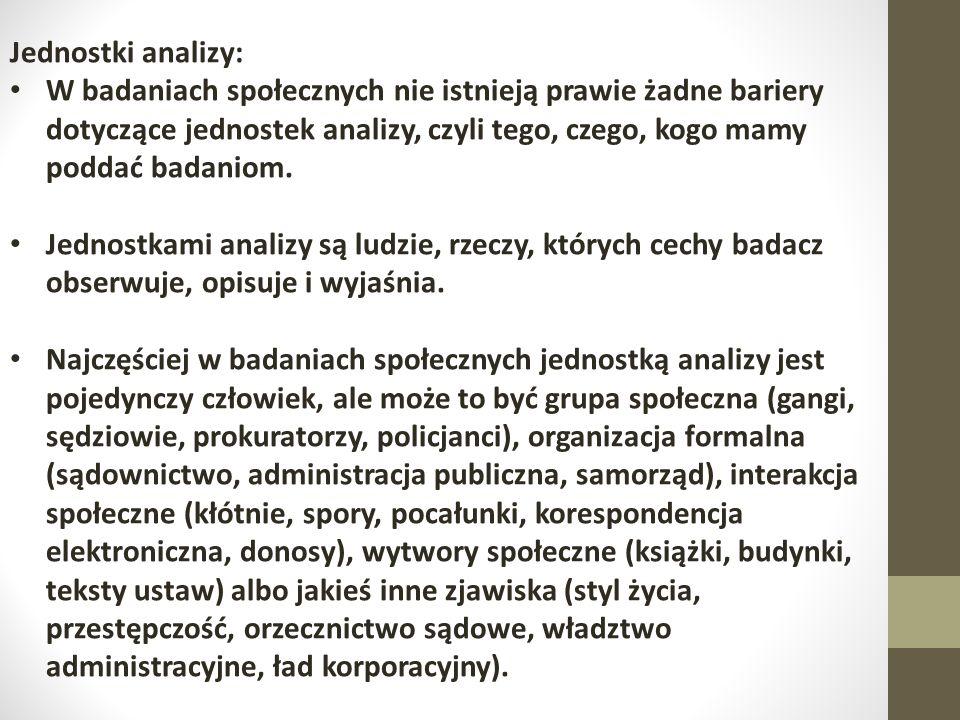 Jednostki analizy: W badaniach społecznych nie istnieją prawie żadne bariery dotyczące jednostek analizy, czyli tego, czego, kogo mamy poddać badaniom.