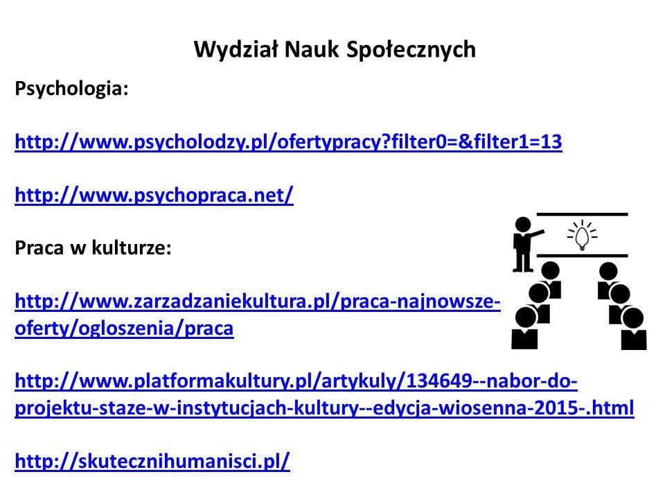 Wydział Nauk Społecznych Psychologia: http://www.psycholodzy.pl/ofertypracy filter0=&filter1=13 http://www.psychopraca.net/ Praca w kulturze: http://www.zarzadzaniekultura.pl/praca-najnowsze- oferty/ogloszenia/praca http://www.platformakultury.pl/artykuly/134649--nabor-do- projektu-staze-w-instytucjach-kultury--edycja-wiosenna-2015-.html http://skutecznihumanisci.pl/
