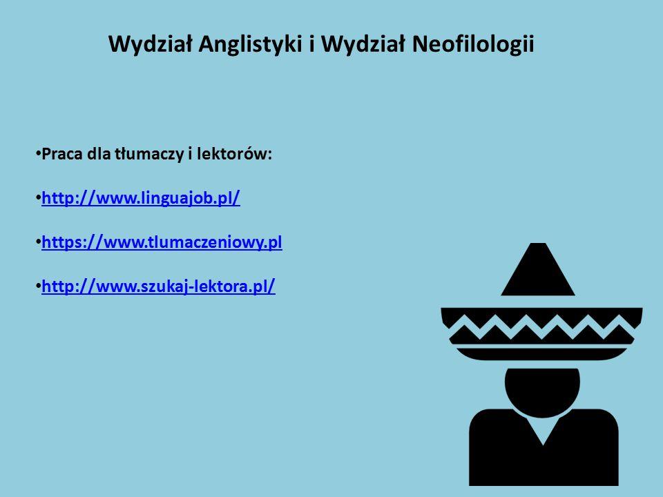 Wydział Anglistyki i Wydział Neofilologii Praca dla tłumaczy i lektorów: http://www.linguajob.pl/ https://www.tlumaczeniowy.pl http://www.szukaj-lekto