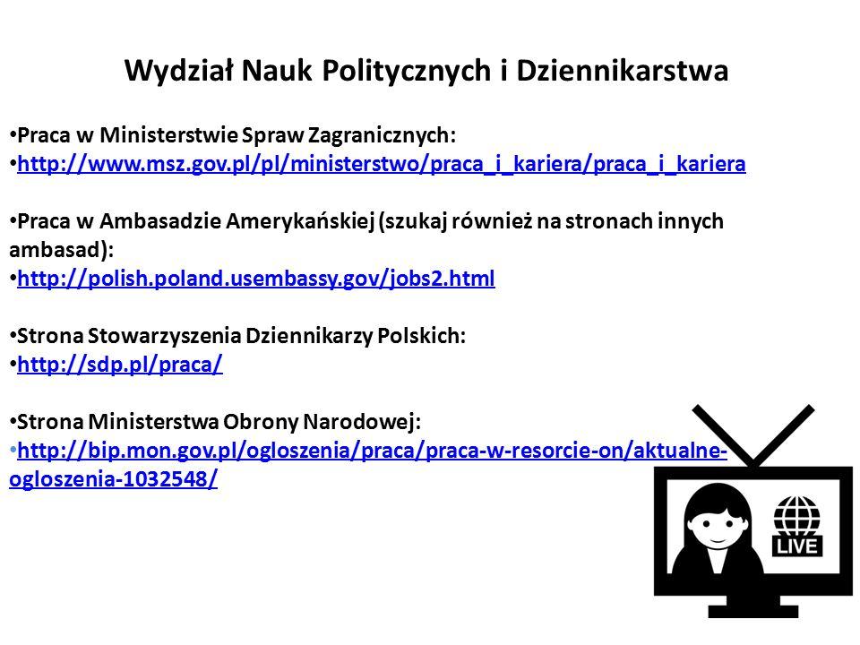 Portale dedykowane chemikom: http://www.pracawchemii.pl/ http://www.chemiaibiznes.com.pl/ogloszenia/kategoria/1-Praca.html http://laboratoria.net/praca Praca w instytucjach publicznych: Aquanet http://www.aquanet.pl/praca,170 Wojewódzka Stacja Sanitarno-Epidemiologiczna: http://bip.wsse-poznan.pl/index.php?id=449 Szpital Kliniczny Przemienienia Pańskiego w Poznaniu (szukaj także na stronach innych szpitali): http://www.skpp.edu.pl/oferty_pracy.html Wydział Chemii