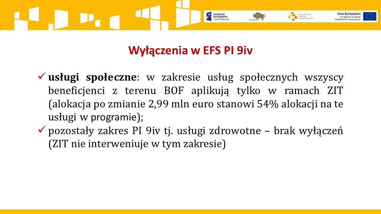 Wyłączenia w EFS PI 9iv usługi społeczne: w zakresie usług społecznych wszyscy beneficjenci z terenu BOF aplikują tylko w ramach ZIT (alokacja po zmia