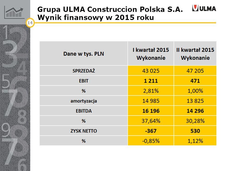 Grupa ULMA Construccion Polska S.A. Wynik finansowy w 2015 roku 14