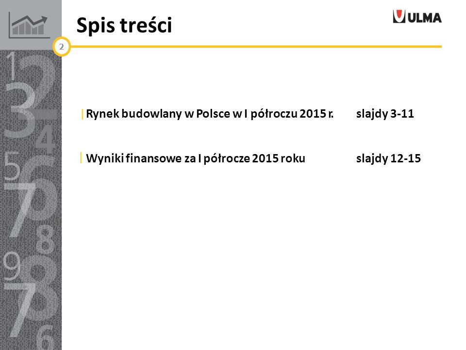 Grupa ULMA Construccion Polska S.A. Wynik finansowy –I p. 2015 vs. I p. 2014 13