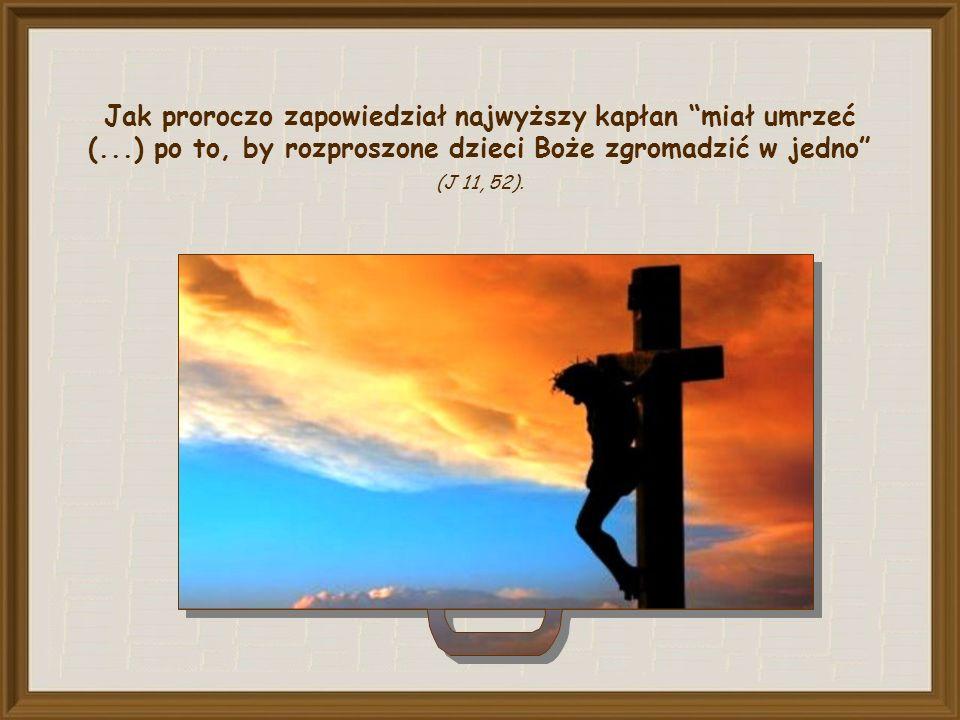 """On sam wskazał drogę, którą miał przejść, aby przynieść nam jedność: """"Gdy zostanę nad ziemię wywyższony, przyciągnę wszystkich do siebie (J 12, 32)."""