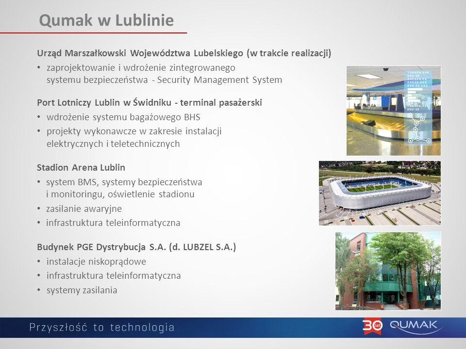 Qumak w Lublinie Port Lotniczy Lublin w Świdniku - terminal pasażerski wdrożenie systemu bagażowego BHS projekty wykonawcze w zakresie instalacji elektrycznych i teletechnicznych Budynek PGE Dystrybucja S.A.