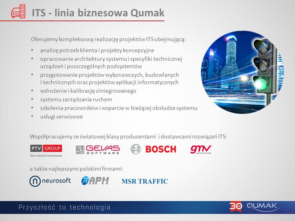 ITS - linia biznesowa Qumak Oferujemy kompleksową realizację projektów ITS obejmującą: analizę potrzeb klienta i projekty koncepcyjne opracowanie architektury systemu i specyfiki technicznej urządzeń i poszczególnych podsystemów przygotowanie projektów wykonawczych, budowlanych i technicznych oraz projektów aplikacji informatycznych wdrożenie i kalibrację zintegrowanego systemu zarządzania ruchem szkolenia pracowników i wsparcie w bieżącej obsłudze systemu usługi serwisowe Współpracujemy ze światowej klasy producentami i dostawcami rozwiązań ITS: a także najlepszymi polskimi firmami: