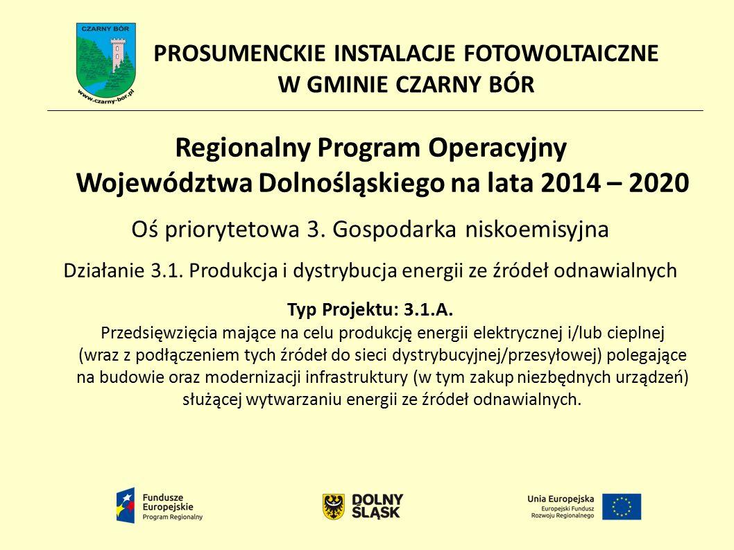 PROSUMENCKIE INSTALACJE FOTOWOLTAICZNE W GMINIE CZARNY BÓR Regionalny Program Operacyjny Województwa Dolnośląskiego na lata 2014 – 2020 Oś priorytetowa 3.