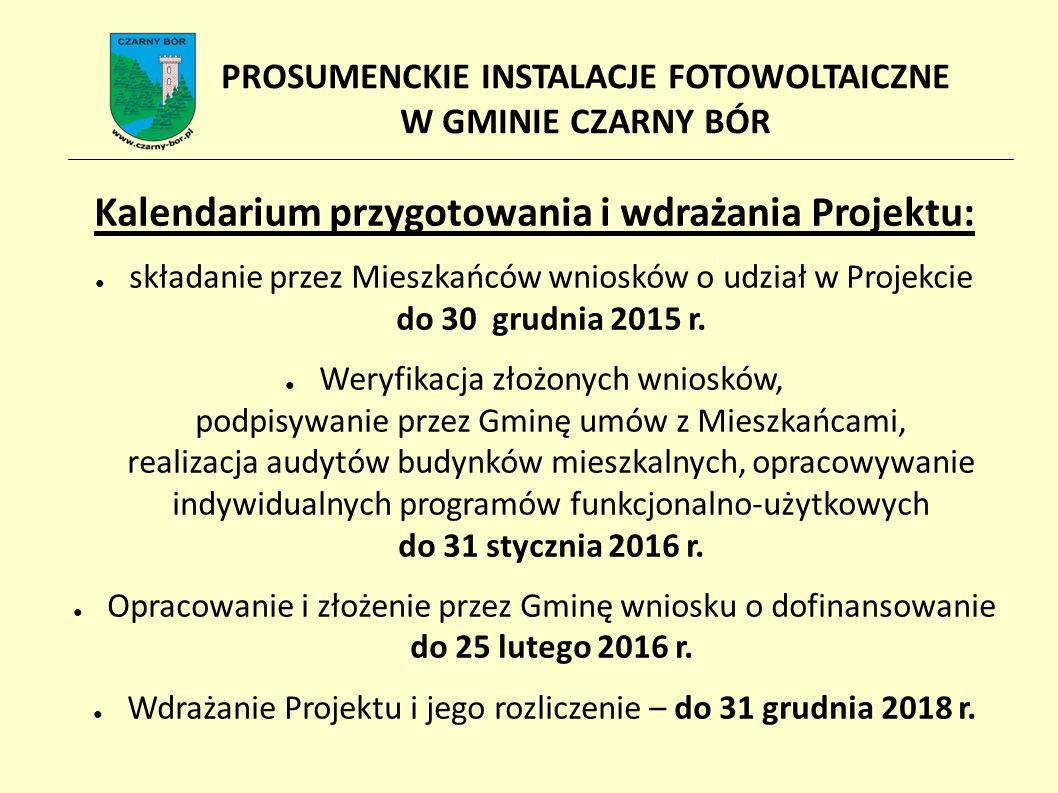 Kalendarium przygotowania i wdrażania Projektu: ● składanie przez Mieszkańców wniosków o udział w Projekcie do 30 grudnia 2015 r.
