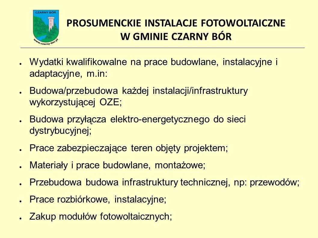 ● Wydatki kwalifikowalne na prace budowlane, instalacyjne i adaptacyjne, m.in: ● Budowa/przebudowa każdej instalacji/infrastruktury wykorzystującej OZE; ● Budowa przyłącza elektro-energetycznego do sieci dystrybucyjnej; ● Prace zabezpieczające teren objęty projektem; ● Materiały i prace budowlane, montażowe; ● Przebudowa budowa infrastruktury technicznej, np: przewodów; ● Prace rozbiórkowe, instalacyjne; ● Zakup modułów fotowoltaicznych; PROSUMENCKIE INSTALACJE FOTOWOLTAICZNE W GMINIE CZARNY BÓR