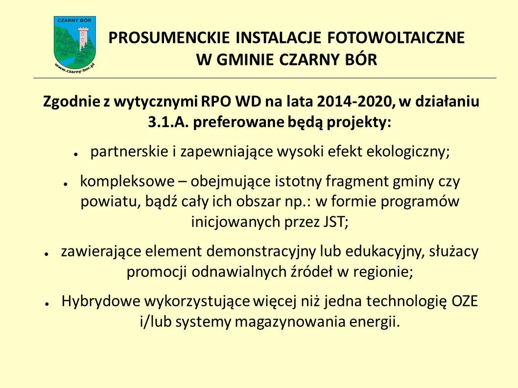Założenia przygotowywanego projektu: ● Wnioskodawca (Beneficjent): Gmina Czarny Bór (jako JST wdrażające program przy udziale mieszkańców) ● Min.
